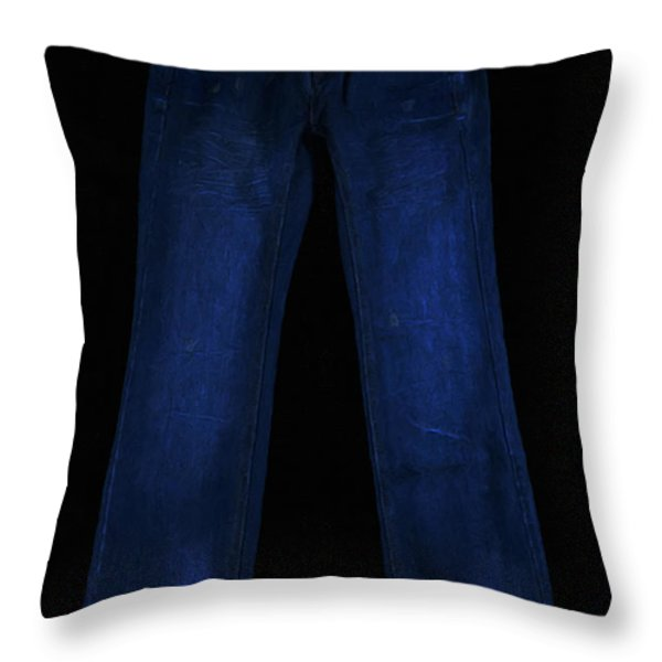 Pair Of Jeans 1 - Painterly Throw Pillow by Wingsdomain Art and Photography