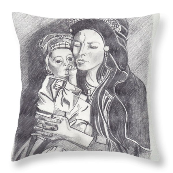 Pakistani Mother and Child Throw Pillow by John Keaton