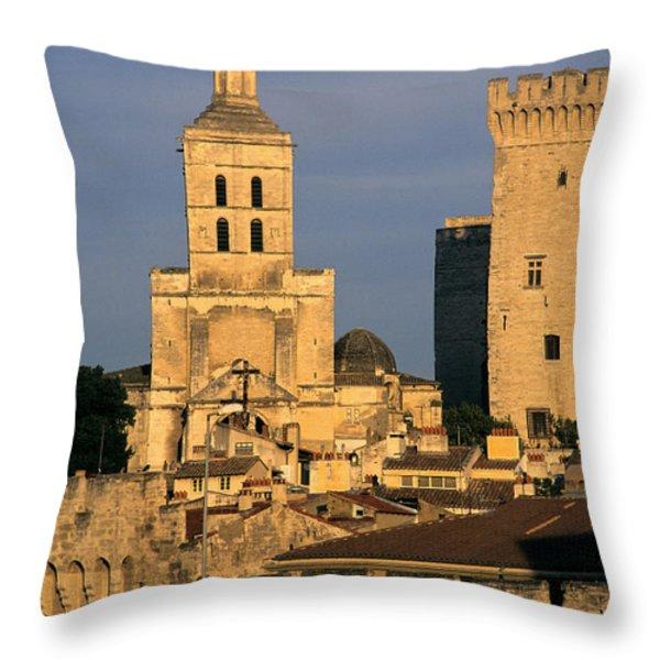 Palais des Papes en Avignon. Throw Pillow by BERNARD JAUBERT