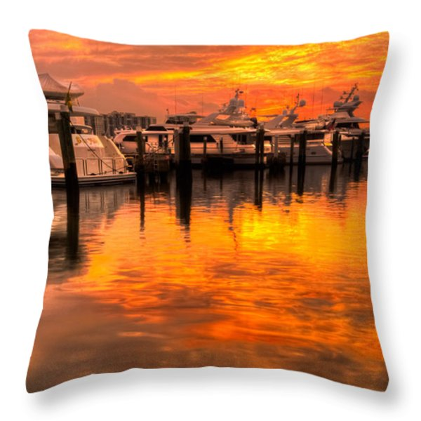 Palm Beach Harbor Glow Throw Pillow by Debra and Dave Vanderlaan