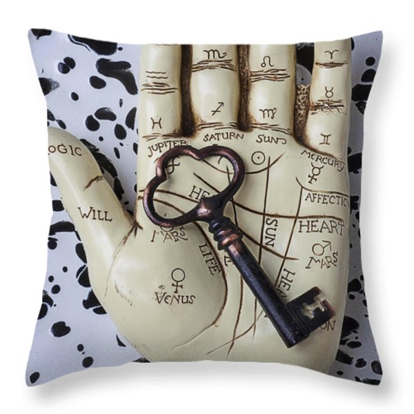 Palm reading hand and key Throw Pillow by Garry Gay