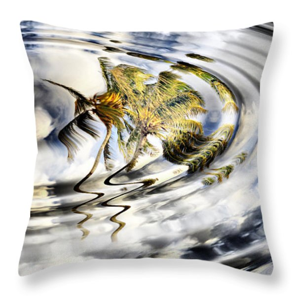 Palm Reflections Throw Pillow by Cheryl Young