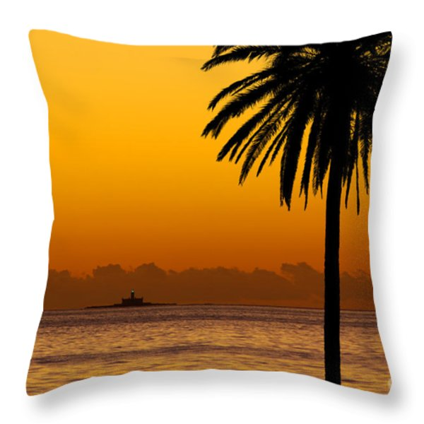 Palm Tree Sunset Throw Pillow by Carlos Caetano