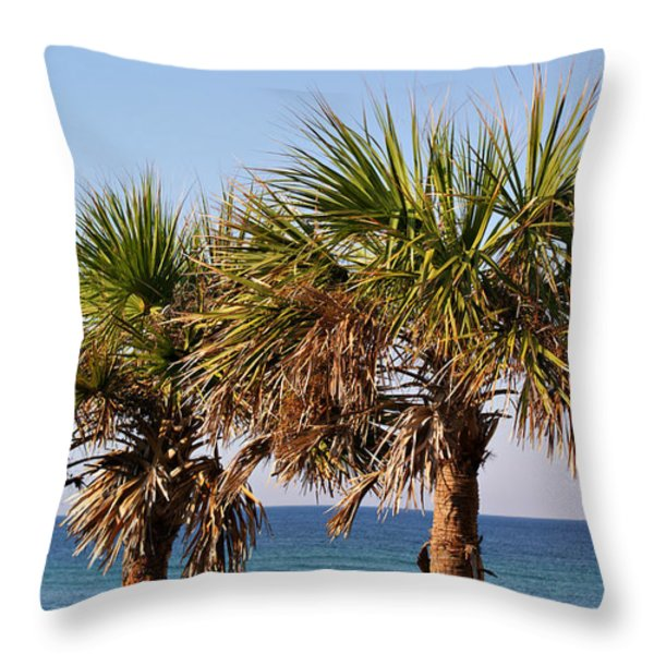 Palm Trees Throw Pillow by Sandy Keeton