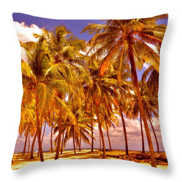 Palms On Half Moon Caye II Throw Pillow by Valerie Rosen