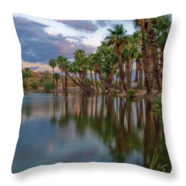 Palms Trees over Papago Lake Throw Pillow by Dave Dilli