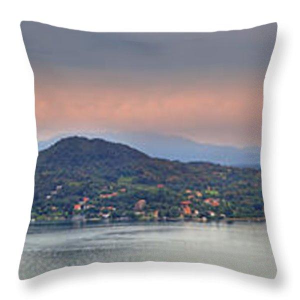 Panorama Lake Maggiore Throw Pillow by Joana Kruse