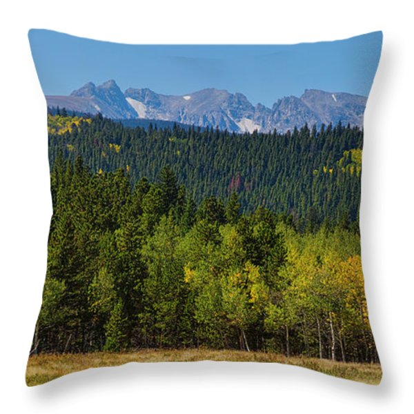 Panorama Scenic Autumn View Of The Colorado Indian Peaks Throw Pillow by James BO  Insogna