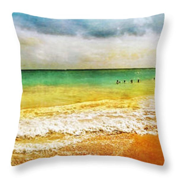 Panoramic Seaside At Tulum Throw Pillow by Tammy Wetzel