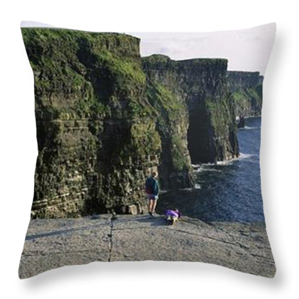 Panoramic View Of Cliffs, Cliffs Of Throw Pillow by The Irish Image Collection