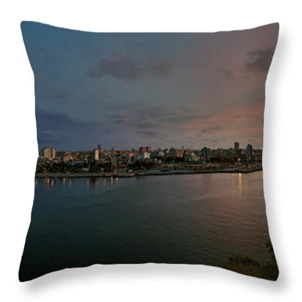Panoramic view of Havana from La Cabana. Cuba Throw Pillow by Juan Carlos Ferro Duque