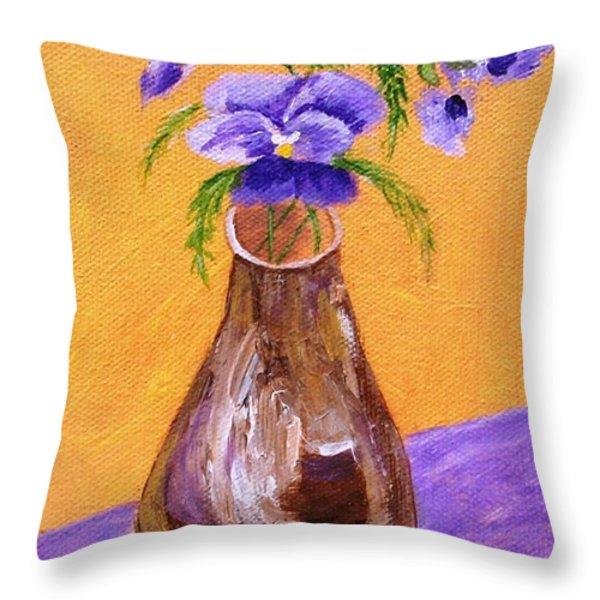 Pansies in Brown Vase Throw Pillow by Jamie Frier