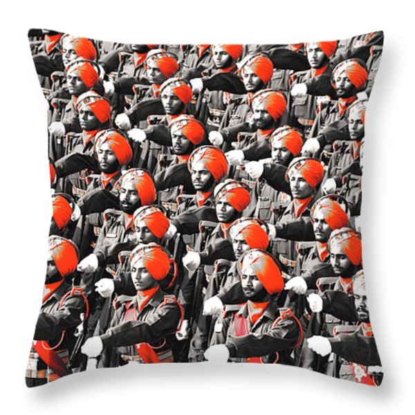 Parade March Indian Army Throw Pillow by Sumit Mehndiratta