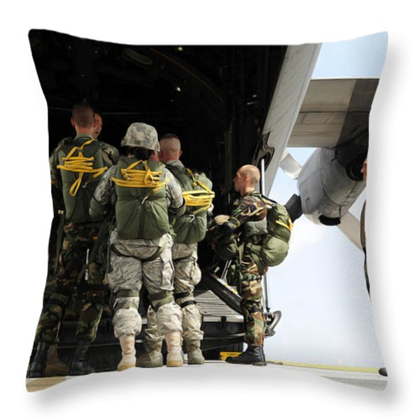Paratroopers Gather Around The Back Throw Pillow by Stocktrek Images