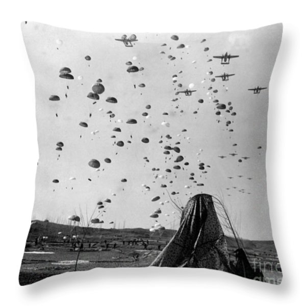 Paratroopers Jump From From C-119s Throw Pillow by Stocktrek Images