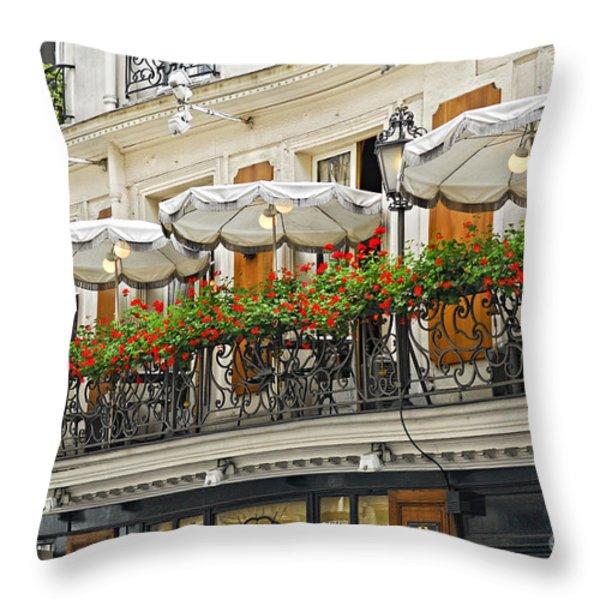 Paris Cafe Throw Pillow by Elena Elisseeva