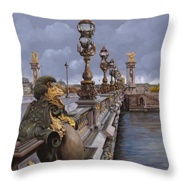 Paris-pont Alexandre III Throw Pillow by Guido Borelli