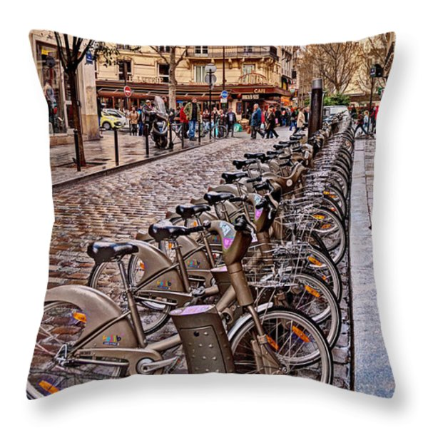 Paris Wheels For Rent Throw Pillow by Bob and Nancy Kendrick