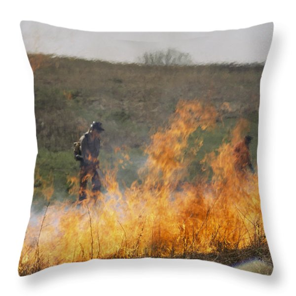 Park Workers Set A Controlled Fire Throw Pillow by Annie Griffiths