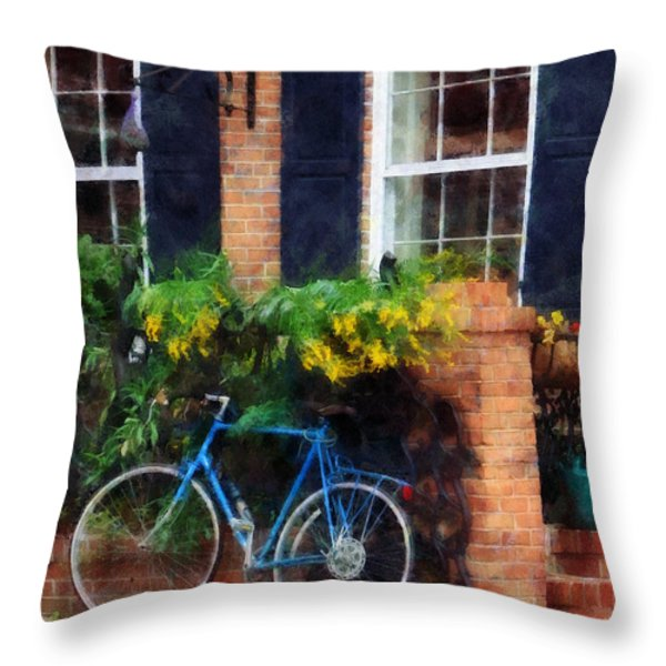 Parked Bicycle Throw Pillow by Susan Savad