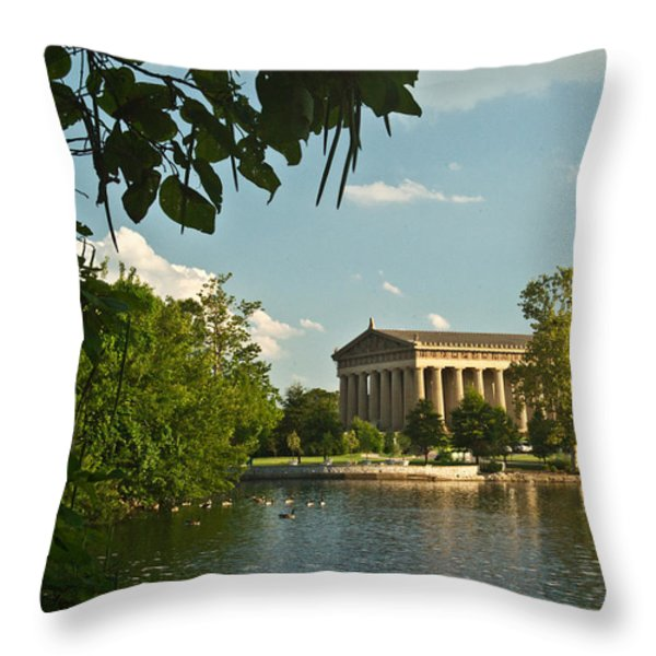 Parthenon at Nashville Tennessee 10 Throw Pillow by Douglas Barnett