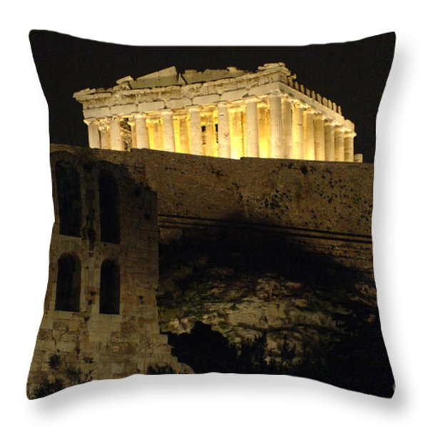 Parthenon Athens Throw Pillow by Bob Christopher