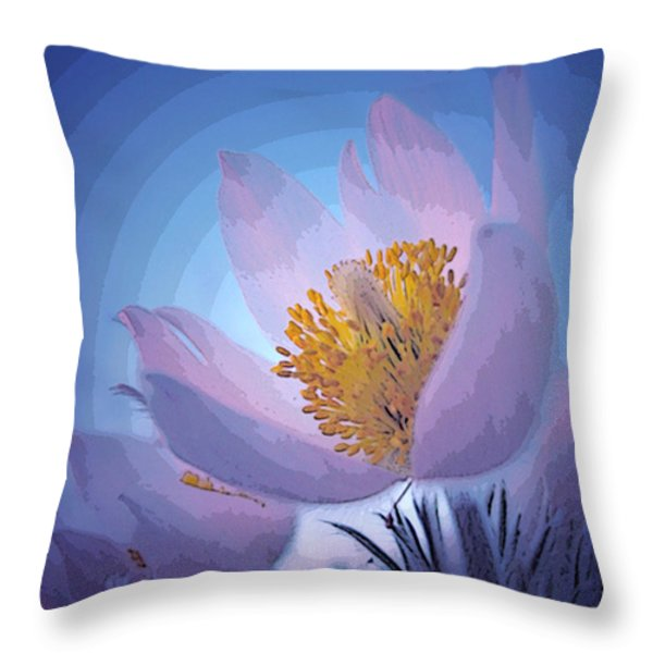 Pasque Flower Throw Pillow by Vivian Christopher