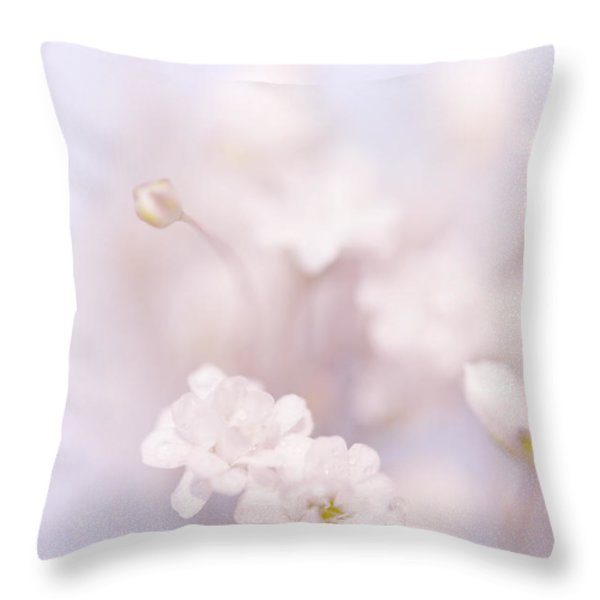 Passion For Flowers. White Pearls Of Gypsophila Throw Pillow by Jenny Rainbow