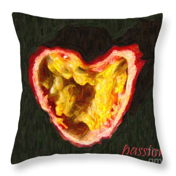 Passion Fruit With Text Throw Pillow by Wingsdomain Art and Photography