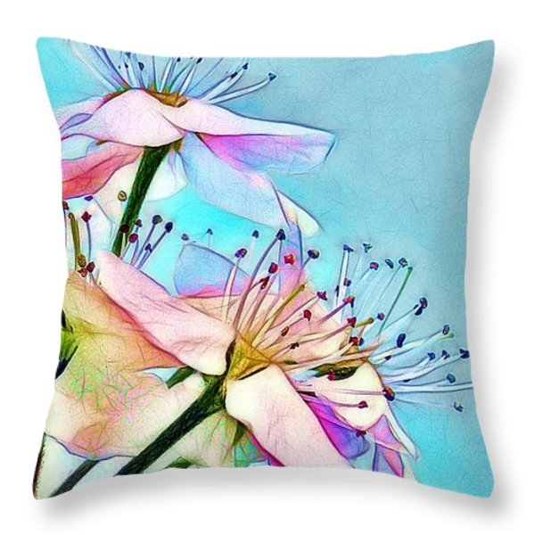 Pastel Petals Throw Pillow by Judi Bagwell