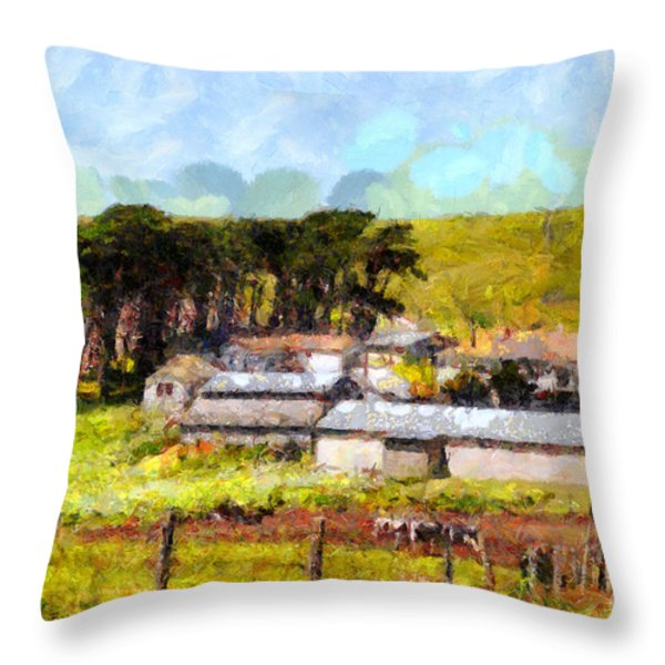 Pastoral Cattle Ranch Landscape  . 7d16047 Throw Pillow by Wingsdomain Art and Photography