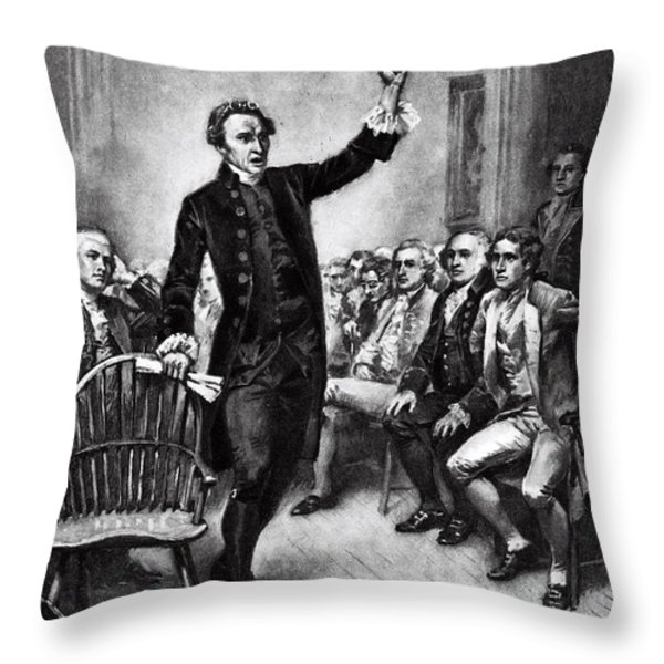 Patrick Henry, American Patriot Throw Pillow by Photo Researchers