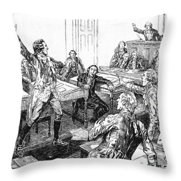 Patrick Henry, Virginia Legislature Throw Pillow by Photo Researchers