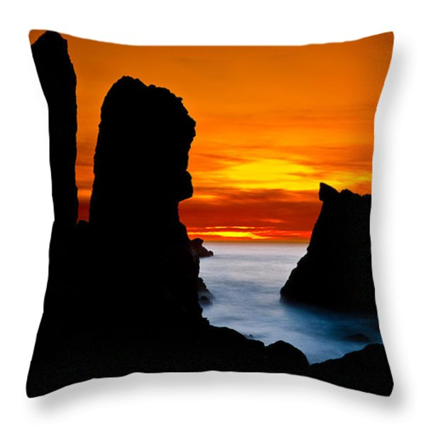 Patrick's Point Silhouette Throw Pillow by Greg Nyquist