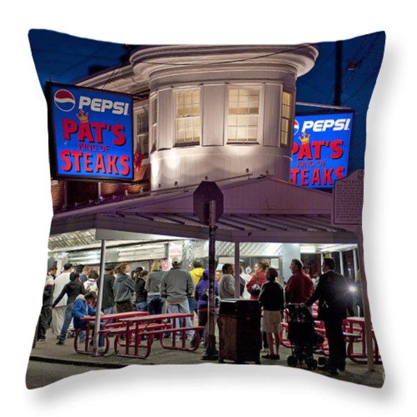 Pat's Steaks Throw Pillow by John Greim