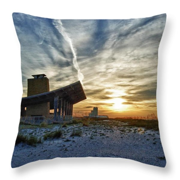 Pavillion and the beach Throw Pillow by Michael Thomas