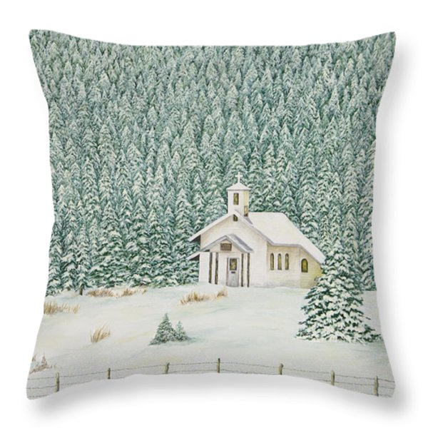 Peace In The Mountains Throw Pillow by Mary Ann King
