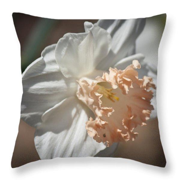 Peach Ruffle Daffodil 1 Throw Pillow by Teresa Mucha