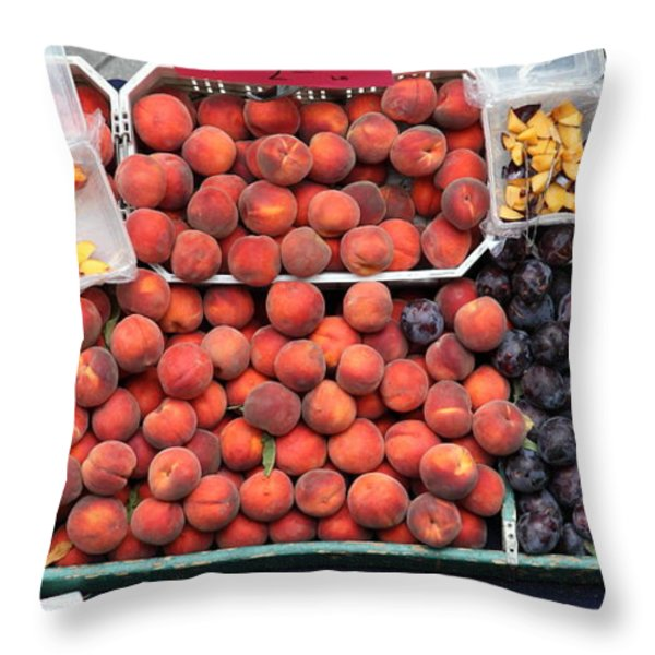 Peaches And Plums - 5d17913 Throw Pillow by Wingsdomain Art and Photography