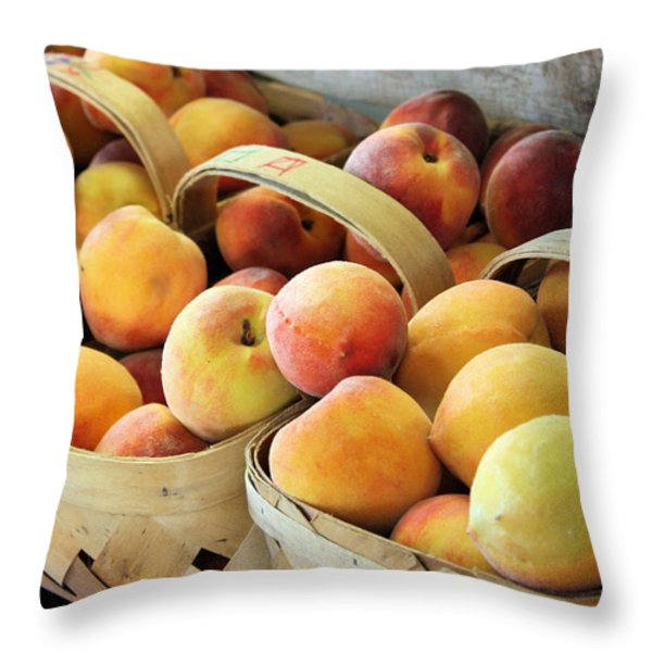 Peaches Throw Pillow by Kristin Elmquist