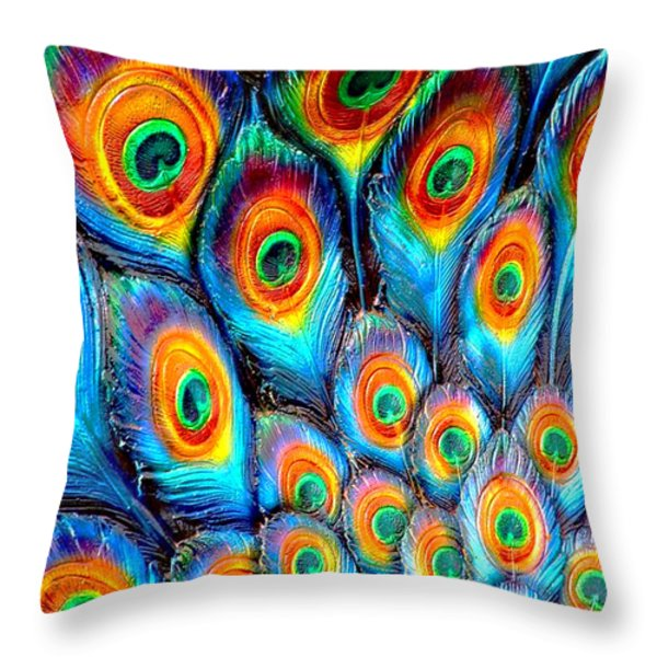 Peacock Feathers Throw Pillow by Helen Stapleton