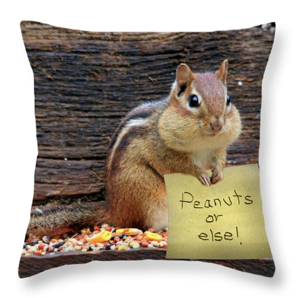 Peanuts Or Else Throw Pillow by Lori Deiter
