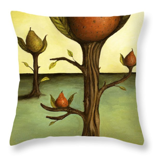 Pear Trees Throw Pillow by Leah Saulnier The Painting Maniac