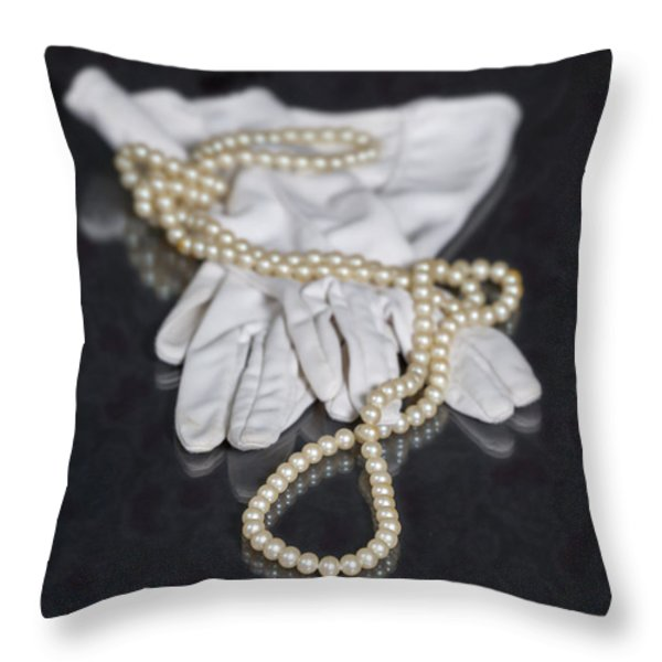 pearls and gloves Throw Pillow by Joana Kruse