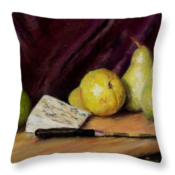 Pears and Cheese Throw Pillow by Jack Skinner