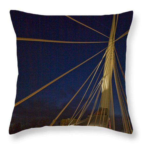 Pedestrians Cross The Modern Bridge Throw Pillow by Taylor S. Kennedy