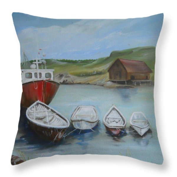 Peggy's Cove Throw Pillow by Joyce Reid