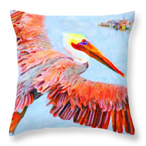 Pelican Flying Back To The Docks Throw Pillow by Wingsdomain Art and Photography