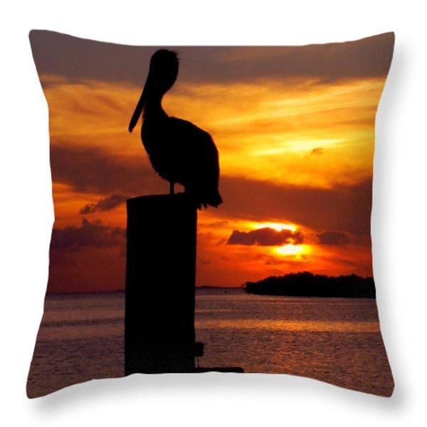 PELICAN SUNDOWN Throw Pillow by KAREN WILES