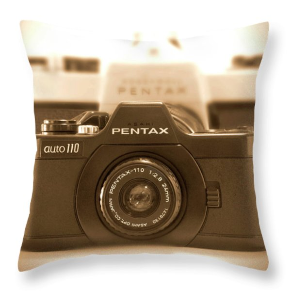Pentax 110 Auto Throw Pillow by Mike McGlothlen